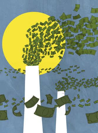 Money flying from smoke stacks