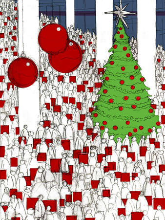 Large Christmas tree among crowd of people