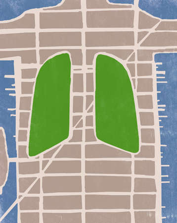 Illustration of lungs in body