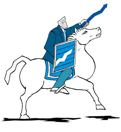 Businessman with ascending arrow sword and graph shield on horse