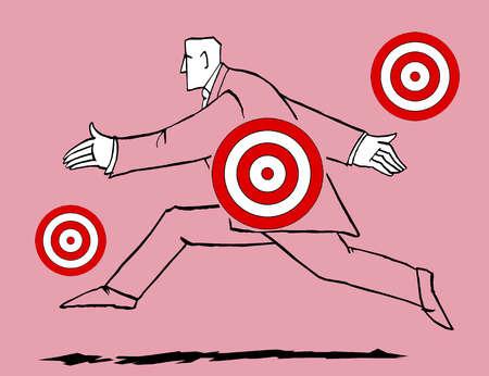 Bull's-eyes over running businessman