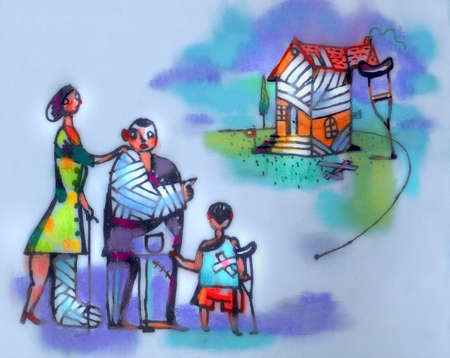 Family wrapped in bandages looking at house propped by crutch