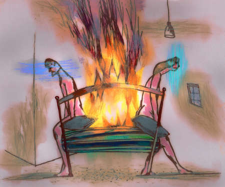 Flame burning on bed between dejected, nude couple
