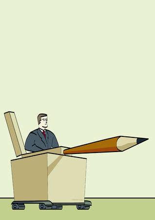 Businessman driving pencil tank