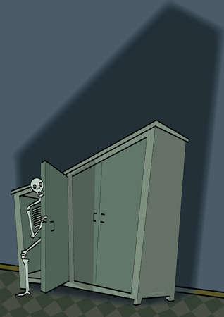 Skeleton peering from closet
