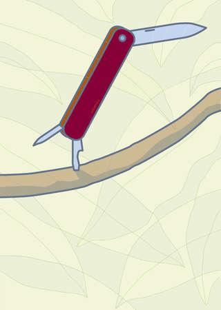 Anthropomorphic pocket knife balancing on branch