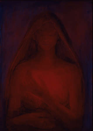 Painting of woman in red