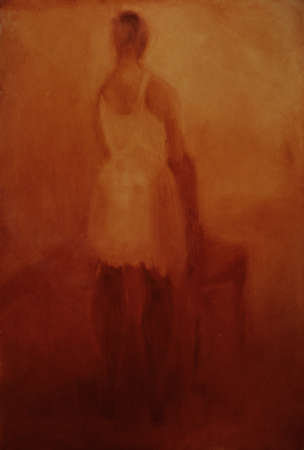 Painting of woman in dress leaning on chair