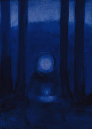 Painting of woman holding candle in dark woods
