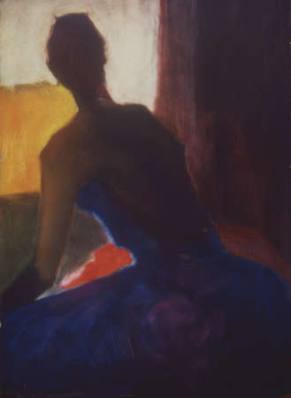 Painting of woman in dress looking out window