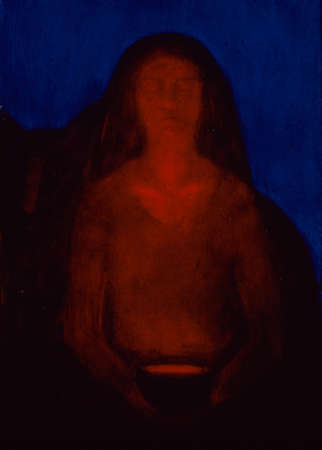 Painting of red light shining under woman