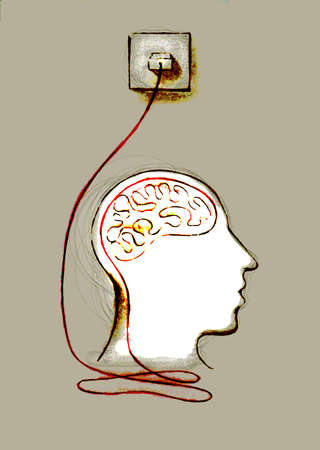Brain plugged into electricity outlet