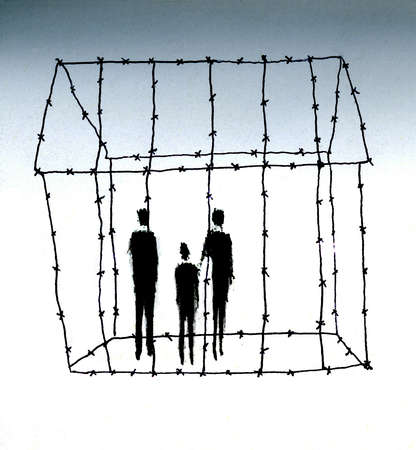 Family in barbed wire outline of house