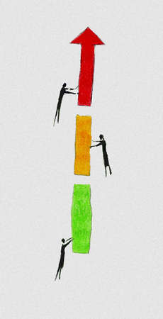 People forming ascending arrow