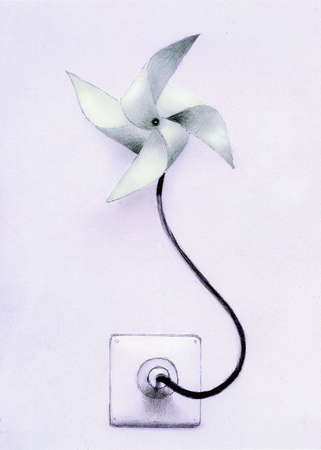 Pinwheel attached to electrical outlet