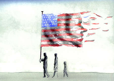 Family carrying disintegrating American flag
