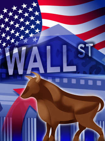 American flag, bull, New York Stock Exchange and Wall Street sign