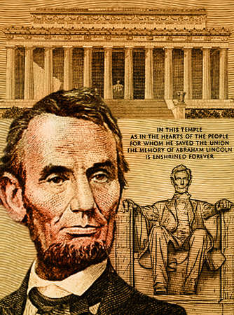 Portrait of Abraham Lincoln with the Lincoln Memorial in background