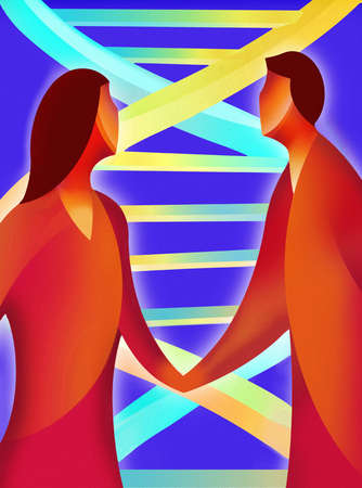 Double helix behind couple holding hands