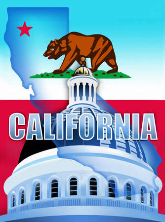 California state flag and state capitol building