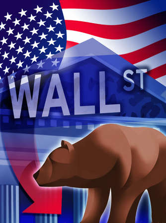 American flag, bear, New York Stock Exchange and Wall Street sign