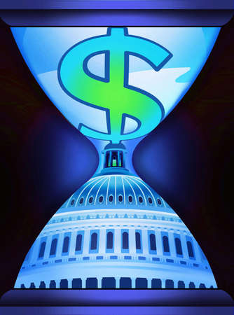 Dollar sign on top of Capitol building in hourglass
