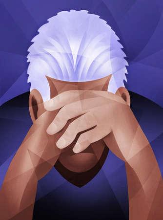 Dejected man with head in hands