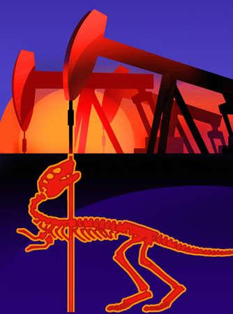 Dinosaur skeleton below oil pump