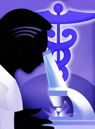 Scientist looking into microscope with caduceus in background