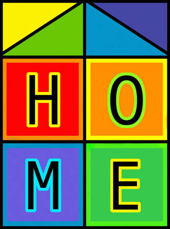 Vibrant Home letters in boxes forming house