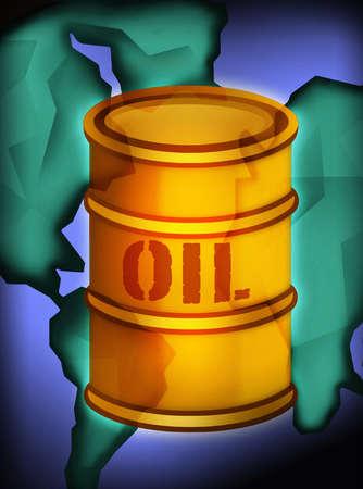 Oil barrel over globe