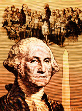 Portrait of George Washington and monument with congressmen in background