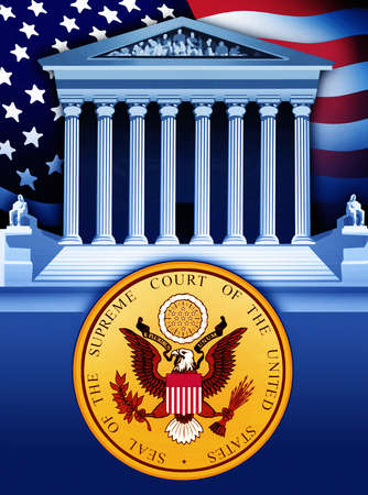 United State Supreme Court seal and building over American flag