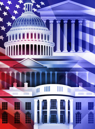 Shadow of American flag over White House, Capitol Building, Supreme Court Building and U.S. Treasury Building