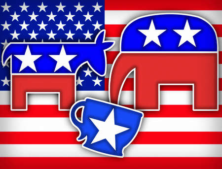 American flag behind donkey watching elephant drink from teacup