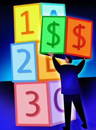 Businessman holding dollar bill block next to alphabet and number blocks