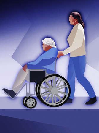 Woman pushing senior woman in wheelchair