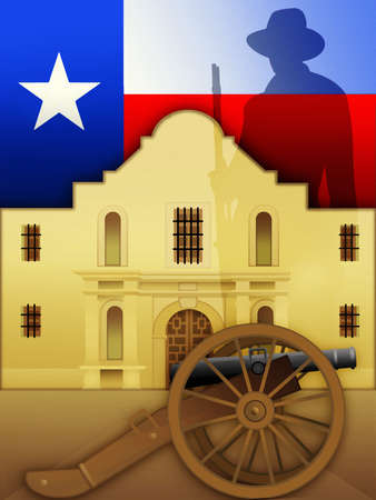 Texas flag, cannon and silhouette of cowboy around Alamo