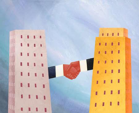 Highrise buildings handshaking