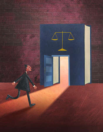 Businessman nearing doorway in book with scales
