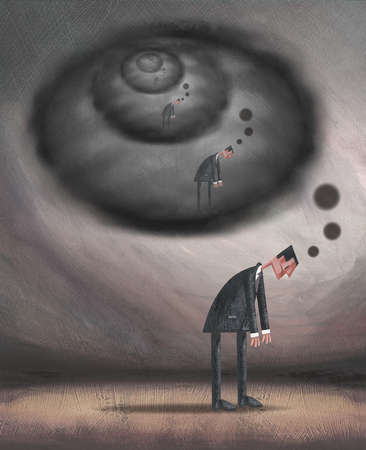Dejected businessman with repeating reflection in dark thought bubbles overhead