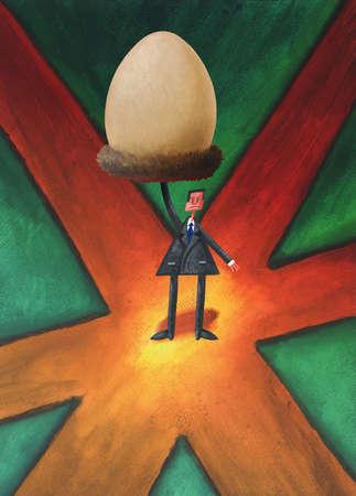 Businessman holding large egg overhead at crossroads