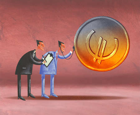 Businessman with clipboard watching economist holding stethoscope to euro coin