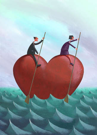 Couple with paddles rowing heart on ocean