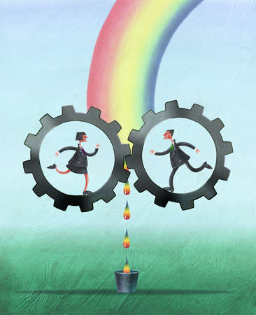 Businessman and businesswoman in cogs at base of rainbow filtering droplets