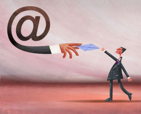 Businessman reaching for envelope from at symbol hand