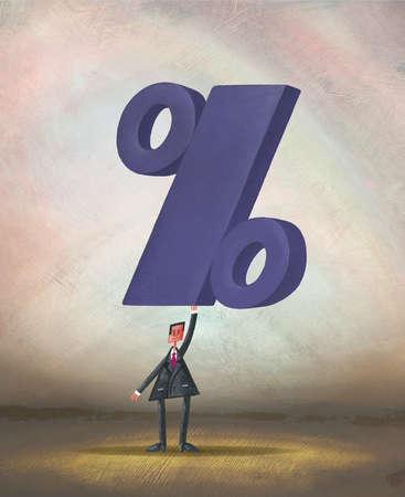 Businessman holding large percent symbol overhead