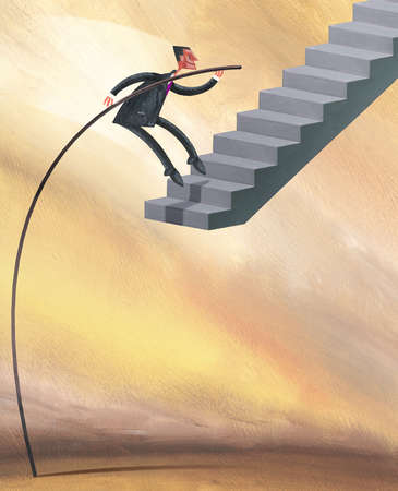Businessman with pole vaulting onto raised staircase