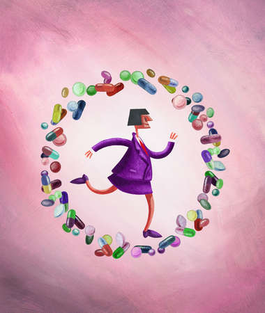 Businesswoman on the move surrounded by circle of pills
