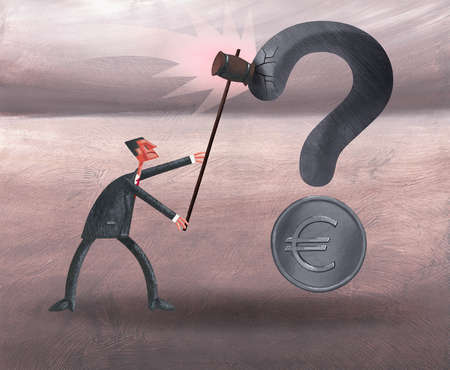 Businessman with gavel hitting question mark with euro coin